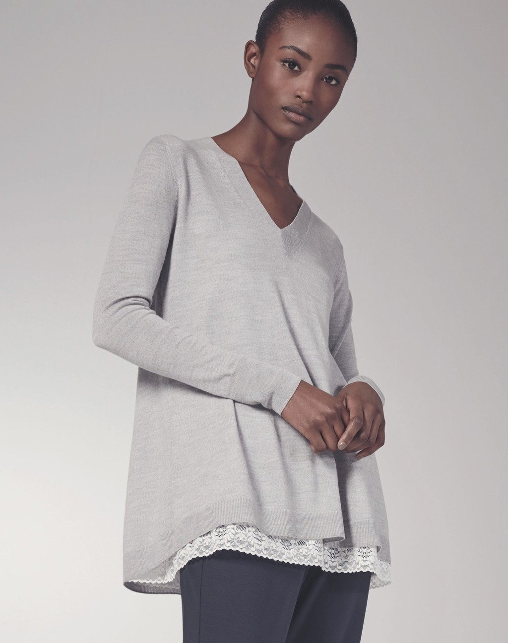 Panel Detail Swing Jumper - neckline: low v-neck; pattern: plain; length: below the bottom; predominant colour: light grey; occasions: casual, creative work; style: a-line; fibres: wool - 100%; fit: loose; sleeve length: long sleeve; sleeve style: standard; texture group: knits/crochet; pattern type: knitted - fine stitch; season: s/s 2016; wardrobe: basic