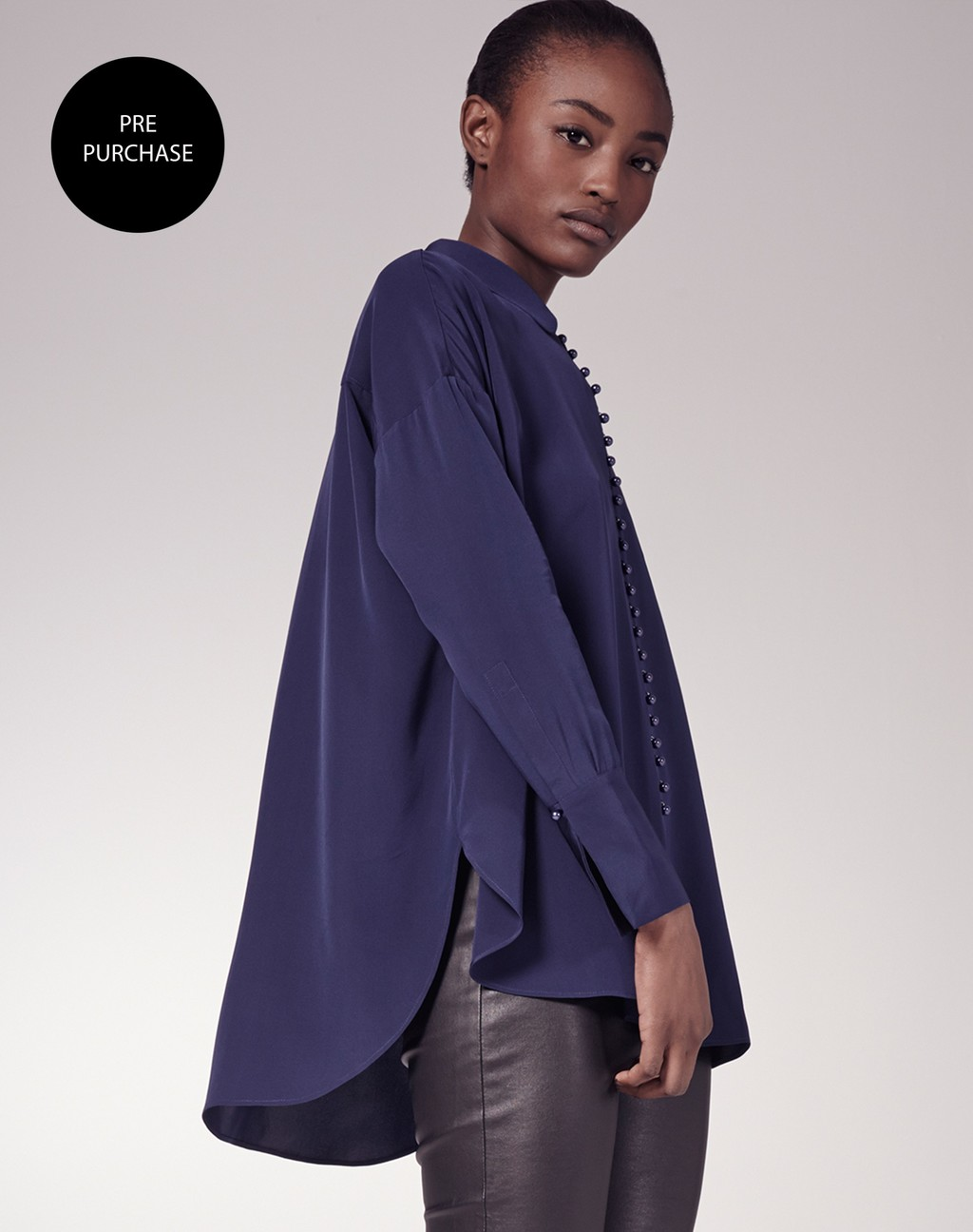 Oversized Silk Blouse - neckline: shirt collar/peter pan/zip with opening; pattern: plain; length: below the bottom; style: blouse; predominant colour: navy; occasions: evening; fibres: silk - 100%; fit: loose; sleeve length: long sleeve; sleeve style: standard; texture group: silky - light; pattern type: fabric; season: s/s 2016; wardrobe: event
