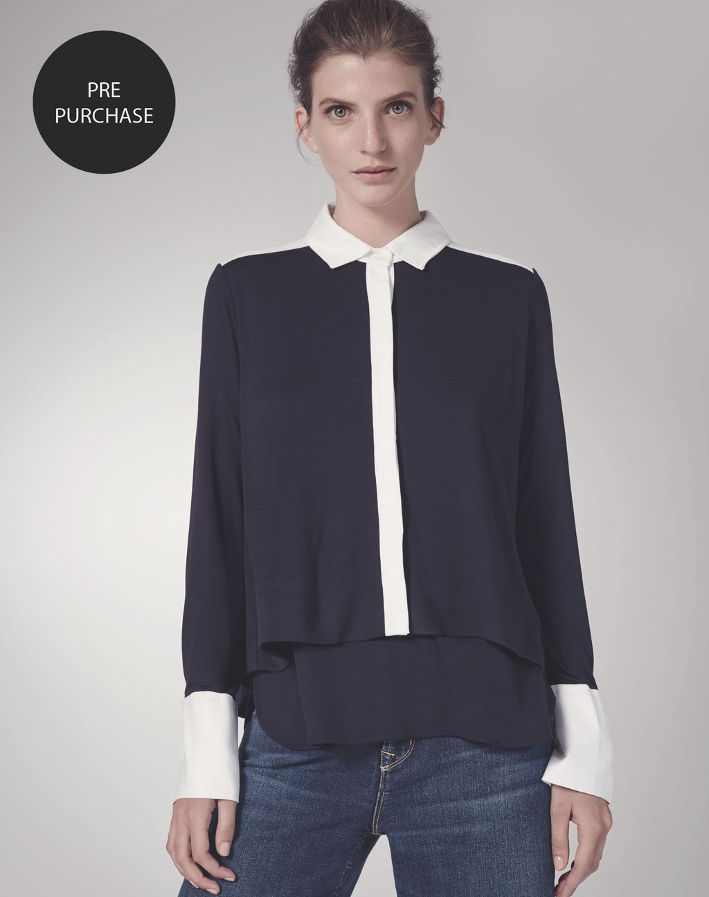 Crop Swing Shirt - neckline: shirt collar/peter pan/zip with opening; pattern: plain; style: shirt; secondary colour: white; predominant colour: navy; occasions: evening; length: standard; fibres: viscose/rayon - 100%; fit: body skimming; sleeve length: long sleeve; sleeve style: standard; texture group: crepes; pattern type: fabric; multicoloured: multicoloured; season: s/s 2016; wardrobe: event