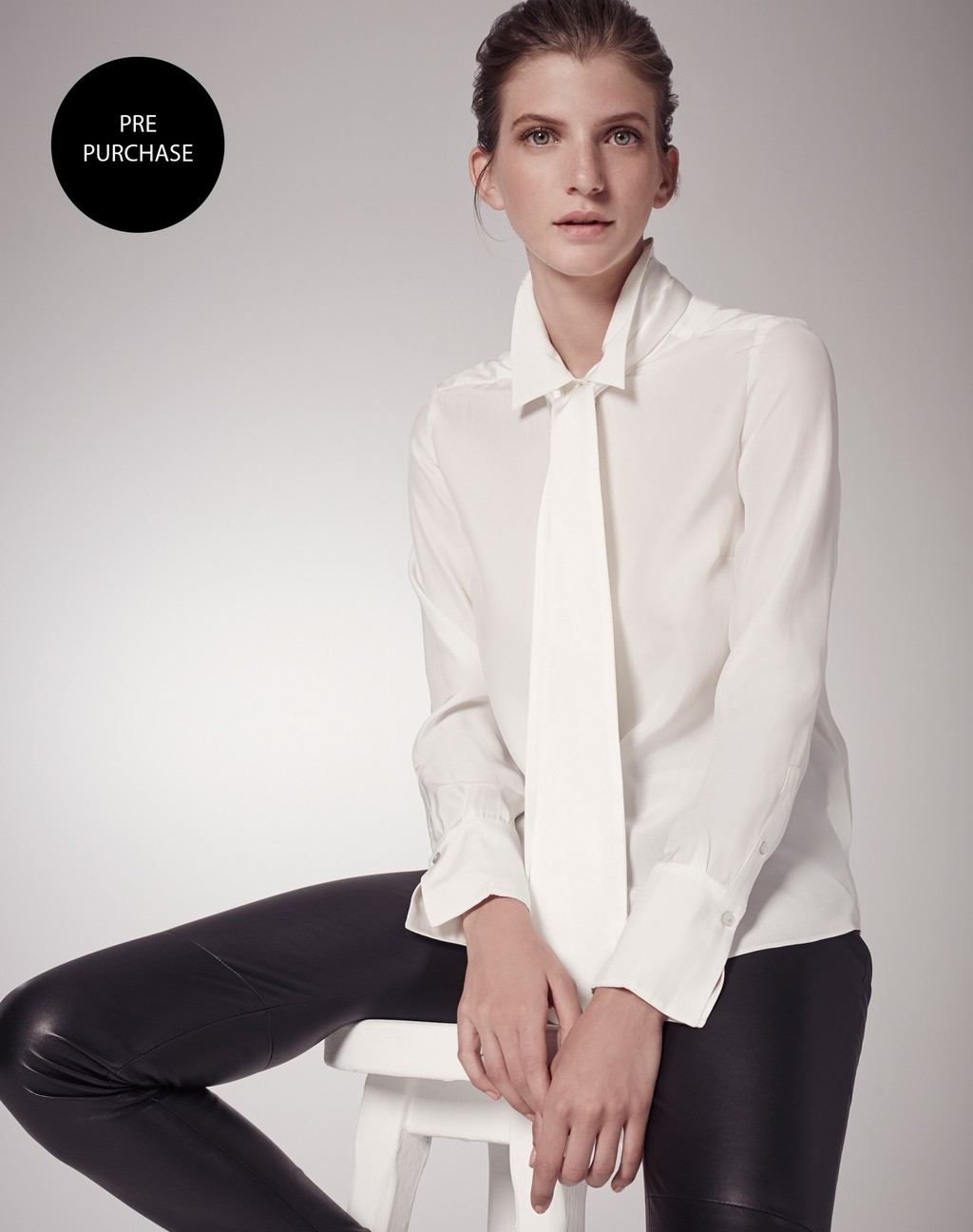 Silk Shirt + Tie Soft White - neckline: shirt collar/peter pan/zip with opening; pattern: plain; style: t-shirt; predominant colour: white; occasions: work; length: standard; fibres: silk - mix; fit: body skimming; sleeve length: long sleeve; sleeve style: standard; texture group: silky - light; pattern type: fabric; season: s/s 2016