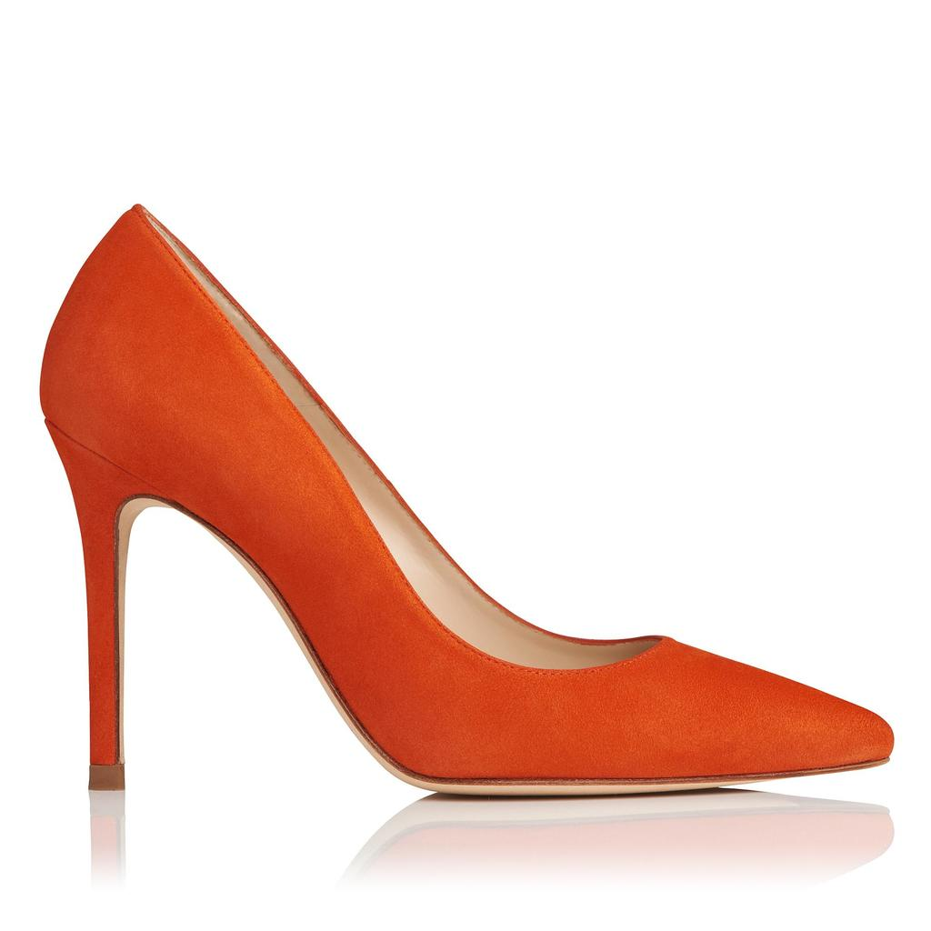 Fern Orange Suede Courts Orange - predominant colour: bright orange; occasions: evening; material: suede; heel height: high; heel: stiletto; toe: pointed toe; style: courts; finish: plain; pattern: plain; season: s/s 2016