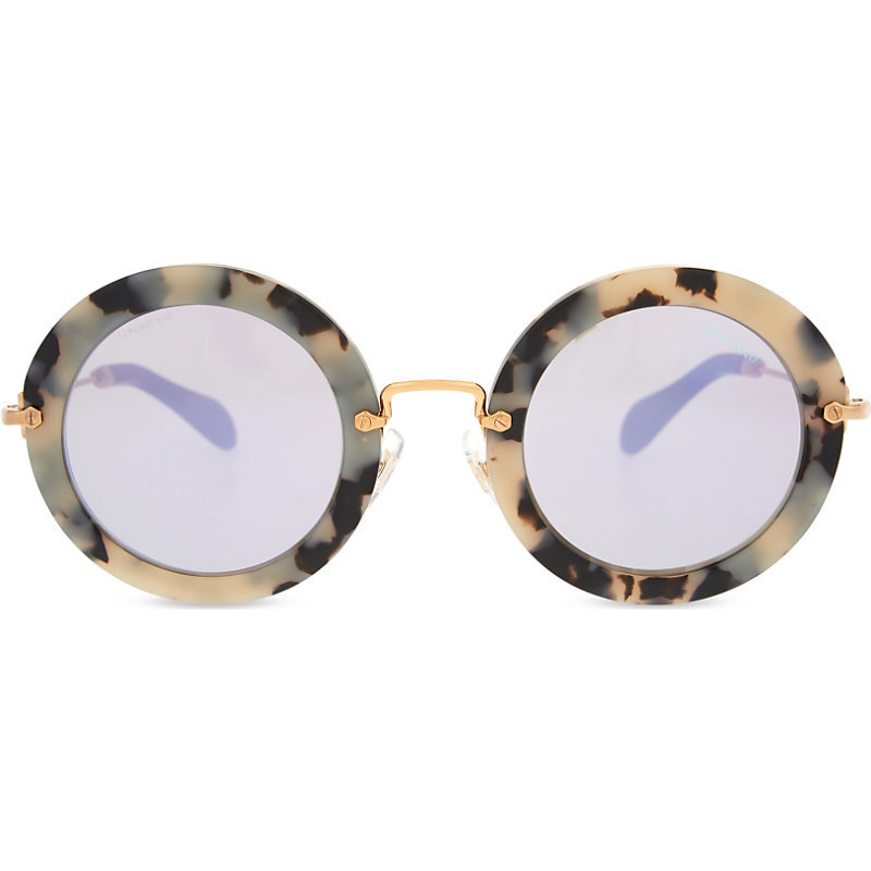 Mu13 Ns Noir Round Frame Sunglasses, Women's, Havana Sand/Brown - predominant colour: gold; occasions: casual, holiday; style: round; size: standard; material: plastic/rubber; pattern: animal print; finish: plain; season: s/s 2016; wardrobe: highlight
