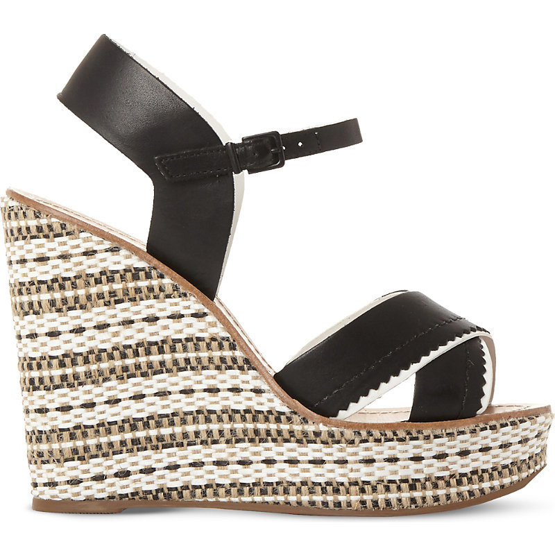 Khalo Aztec Leather Wedges, Women's, Eur 37 / 4 Uk Women, Black Leather - predominant colour: black; occasions: casual, holiday; material: leather; ankle detail: ankle strap; heel: wedge; toe: open toe/peeptoe; style: strappy; finish: plain; pattern: horizontal stripes; heel height: very high; shoe detail: platform; season: s/s 2016; wardrobe: highlight