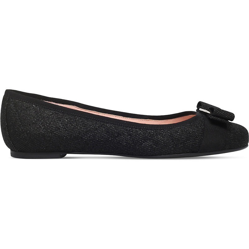 Varina Quilted Denim Suede Ballet Flats, Women's, Eur 36 / 3 Uk Women, Black - predominant colour: black; occasions: casual, creative work; material: fabric; heel height: flat; toe: round toe; style: ballerinas / pumps; finish: plain; pattern: plain; embellishment: bow; season: s/s 2016; wardrobe: basic