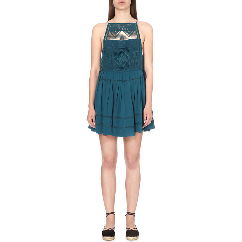 Emily Lace Dress, Women's, Blue - length: mid thigh; neckline: high square neck; sleeve style: sleeveless; predominant colour: teal; occasions: evening; fit: fitted at waist & bust; style: fit & flare; fibres: cotton - 100%; sleeve length: sleeveless; texture group: lace; pattern type: fabric; pattern size: standard; pattern: patterned/print; embellishment: lace; season: s/s 2016; wardrobe: event