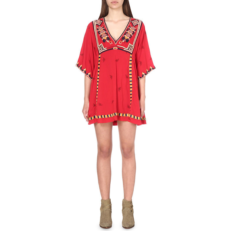 Tulum Embroidered Smock Dress, Women's, Red Combo - style: tunic; length: mid thigh; neckline: v-neck; predominant colour: true red; secondary colour: black; occasions: casual; fit: soft a-line; fibres: viscose/rayon - 100%; sleeve length: 3/4 length; sleeve style: standard; texture group: cotton feel fabrics; pattern type: fabric; pattern size: big & busy; pattern: patterned/print; embellishment: embroidered; season: s/s 2016; wardrobe: highlight