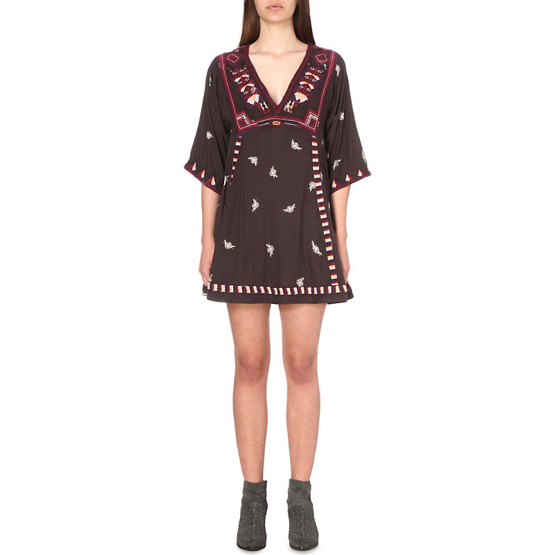 Tulum Embroidered Smock Dress, Women's, Black - style: smock; length: mini; neckline: v-neck; fit: loose; secondary colour: ivory/cream; predominant colour: black; occasions: casual; fibres: viscose/rayon - 100%; sleeve length: 3/4 length; sleeve style: standard; pattern type: fabric; pattern: patterned/print; texture group: woven light midweight; embellishment: embroidered; multicoloured: multicoloured; season: s/s 2016; wardrobe: highlight