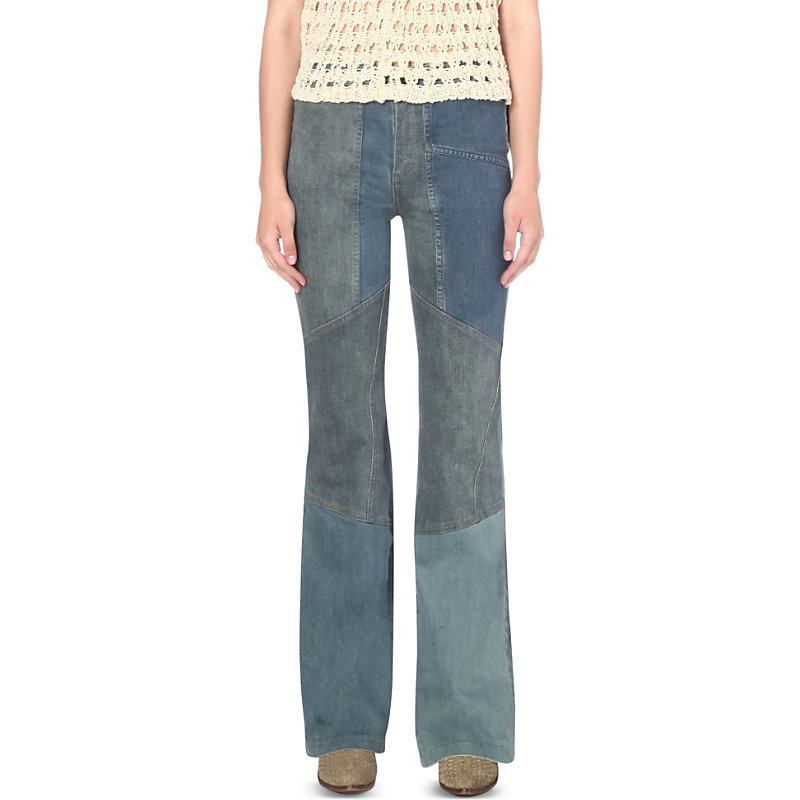 Allissa Flared High Rise Jeans, Women's, Denim Blue - style: bootcut; length: standard; pattern: plain; waist: mid/regular rise; predominant colour: denim; occasions: casual; fibres: cotton - stretch; texture group: denim; pattern type: fabric; season: s/s 2016; wardrobe: basic