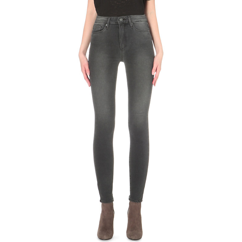 Hoxton Skinny High Rise Jeans, Women's, Smoke Grey - style: skinny leg; length: standard; pattern: plain; pocket detail: traditional 5 pocket; waist: mid/regular rise; predominant colour: charcoal; occasions: casual, creative work; fibres: viscose/rayon - stretch; jeans detail: shading down centre of thigh; texture group: denim; pattern type: fabric; season: s/s 2016; wardrobe: highlight