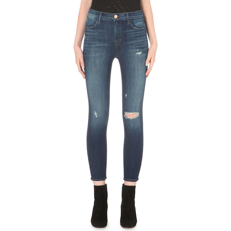 Alana Skinny High Rise Jeans, Women's, Overtime - style: skinny leg; pattern: plain; waist: mid/regular rise; predominant colour: denim; occasions: casual, creative work; length: ankle length; fibres: cotton - stretch; jeans detail: whiskering, shading down centre of thigh, rips; texture group: denim; pattern type: fabric; season: s/s 2016; wardrobe: basic