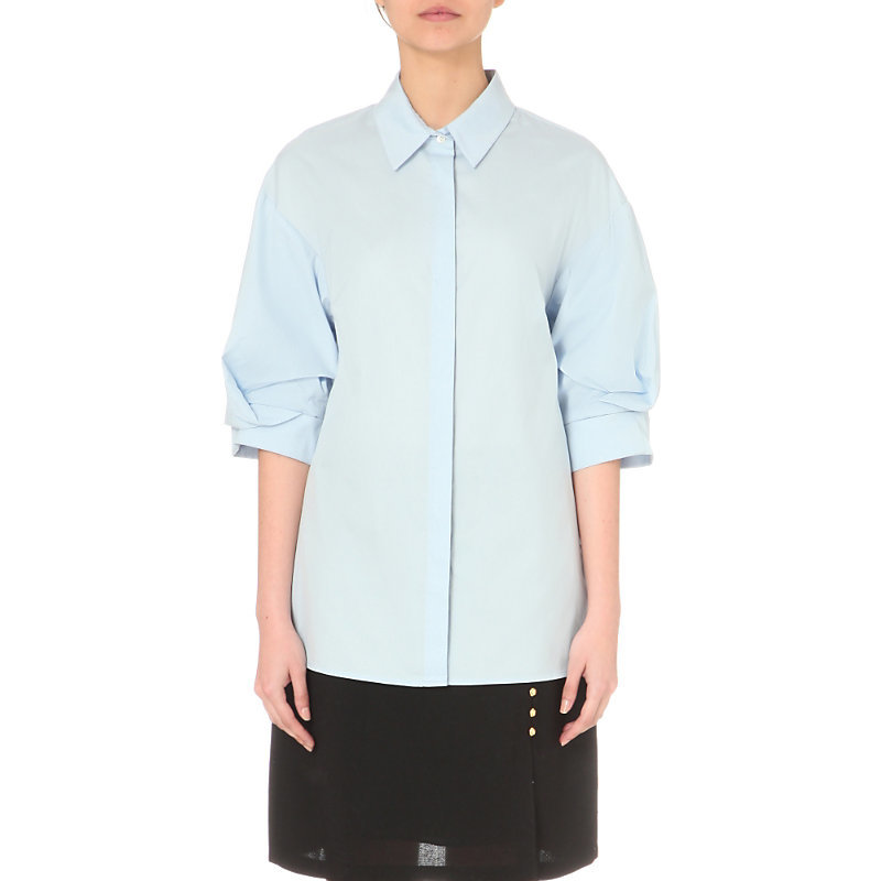 Rolled Cuff Cotton Shirt, Women's, Baby Blue - neckline: shirt collar/peter pan/zip with opening; pattern: plain; style: shirt; predominant colour: pale blue; occasions: casual; length: standard; fibres: cotton - 100%; fit: body skimming; sleeve length: 3/4 length; sleeve style: standard; texture group: cotton feel fabrics; pattern type: fabric; season: s/s 2016