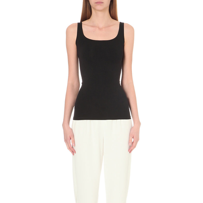 Len Tubular Jersey Top, Women's, Black - pattern: plain; sleeve style: sleeveless; style: vest top; predominant colour: black; occasions: casual; length: standard; neckline: scoop; fit: tight; sleeve length: sleeveless; texture group: jersey - clingy; pattern type: fabric; fibres: nylon - stretch; season: s/s 2016; wardrobe: basic