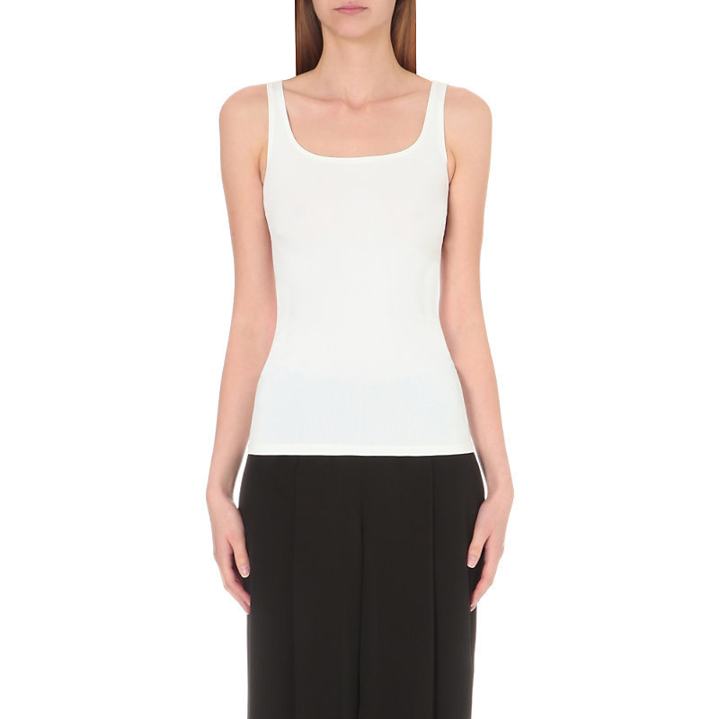 Len Tubular Jersey Top, Women's, White - pattern: plain; sleeve style: sleeveless; style: vest top; predominant colour: white; occasions: casual; length: standard; neckline: scoop; fit: tight; sleeve length: sleeveless; texture group: jersey - clingy; pattern type: fabric; fibres: nylon - stretch; season: s/s 2016; wardrobe: basic