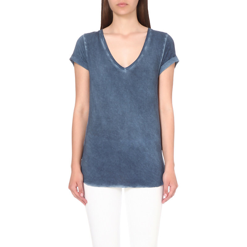 Charlie Jersey T Shirt, Women's, Size: Small, Vintage Dark Ink Blue - neckline: v-neck; pattern: plain; style: t-shirt; predominant colour: navy; occasions: casual; length: standard; fibres: viscose/rayon - stretch; fit: body skimming; sleeve length: short sleeve; sleeve style: standard; pattern type: fabric; texture group: jersey - stretchy/drapey; season: s/s 2016; wardrobe: basic