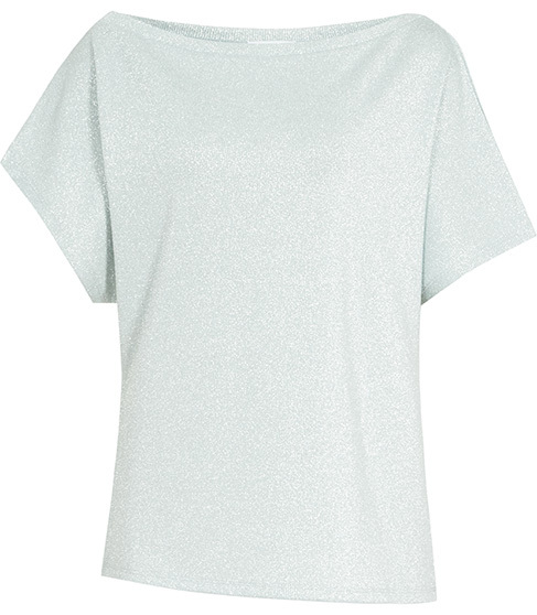 Maison Metallic Top - neckline: round neck; pattern: plain; predominant colour: light grey; occasions: casual; length: standard; style: top; fibres: viscose/rayon - stretch; fit: body skimming; sleeve length: short sleeve; sleeve style: standard; pattern type: fabric; texture group: jersey - stretchy/drapey; season: s/s 2016; wardrobe: basic