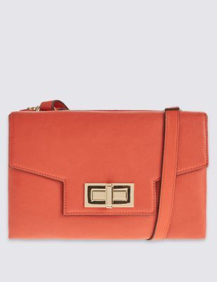 Faux Leather Envelope Bag - predominant colour: bright orange; type of pattern: standard; style: clutch; length: hand carry; size: small; material: faux leather; pattern: plain; finish: plain; occasions: creative work; season: s/s 2016; wardrobe: highlight