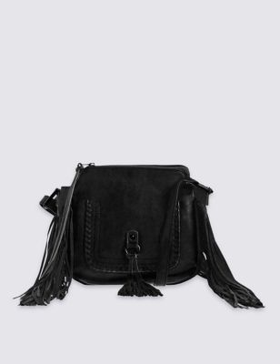 Faux Leather Fringed Saddle Across Body Bag - predominant colour: black; occasions: casual, creative work; type of pattern: standard; style: messenger; length: across body/long; size: small; material: leather; embellishment: fringing; pattern: plain; finish: plain; season: s/s 2016; wardrobe: highlight; trends: romantic explorer