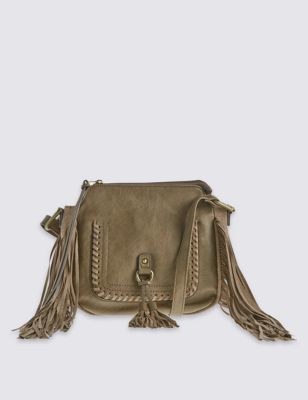 Faux Leather Fringed Saddle Across Body Bag - predominant colour: khaki; occasions: casual, creative work; type of pattern: standard; style: messenger; length: across body/long; size: small; material: leather; embellishment: fringing; pattern: plain; finish: plain; season: s/s 2016; wardrobe: highlight; trends: romantic explorer