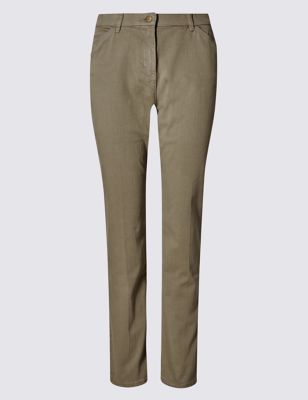 Mid Rise Garment Dye Slim Leg Jeans - length: standard; pattern: plain; style: slim leg; waist: mid/regular rise; predominant colour: khaki; occasions: casual; fibres: cotton - stretch; texture group: denim; pattern type: fabric; season: s/s 2016; wardrobe: highlight