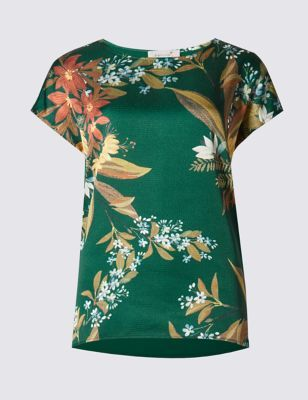 Floral Woven Front Top - length: below the bottom; secondary colour: white; predominant colour: dark green; occasions: casual, holiday; style: top; fibres: viscose/rayon - stretch; fit: body skimming; neckline: crew; sleeve length: short sleeve; sleeve style: standard; texture group: jersey - clingy; pattern type: fabric; pattern: florals; pattern size: big & busy (top); multicoloured: multicoloured; season: s/s 2016; wardrobe: highlight
