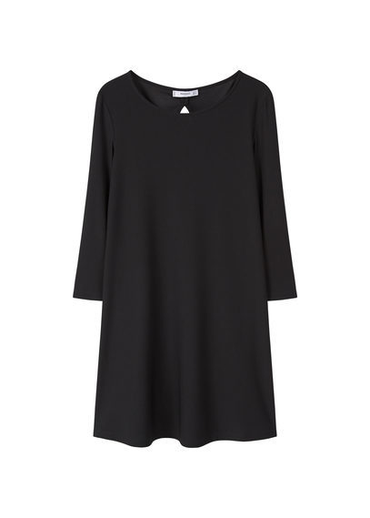 Back Vent Dress - style: shift; neckline: round neck; pattern: plain; predominant colour: black; occasions: evening; length: just above the knee; fit: body skimming; fibres: polyester/polyamide - stretch; sleeve length: 3/4 length; sleeve style: standard; pattern type: fabric; texture group: other - light to midweight; season: s/s 2016; wardrobe: event