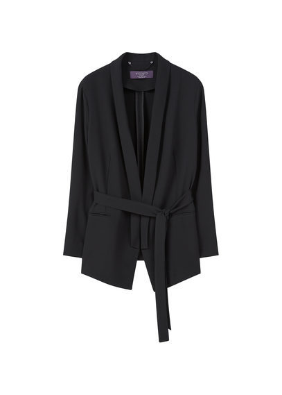 Unstructured Flowy Blazer - pattern: plain; style: single breasted blazer; collar: shawl/waterfall; length: below the bottom; predominant colour: black; fit: tailored/fitted; fibres: polyester/polyamide - 100%; waist detail: belted waist/tie at waist/drawstring; sleeve length: long sleeve; sleeve style: standard; texture group: crepes; collar break: low/open; pattern type: fabric; occasions: creative work; season: s/s 2016; wardrobe: investment