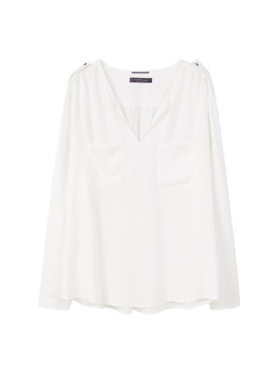 Mixed Fabric Blouse - neckline: v-neck; pattern: plain; style: blouse; predominant colour: white; occasions: casual; length: standard; fibres: viscose/rayon - 100%; fit: body skimming; sleeve length: long sleeve; sleeve style: standard; pattern type: fabric; texture group: other - light to midweight; season: s/s 2016