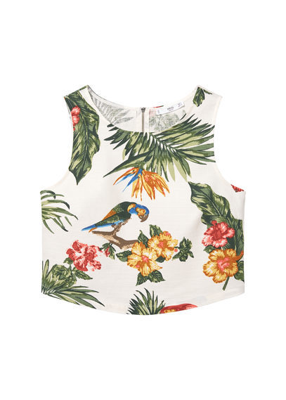 Tropical Print Top - neckline: round neck; sleeve style: sleeveless; length: cropped; predominant colour: white; secondary colour: dark green; occasions: casual; style: top; fibres: cotton - mix; fit: body skimming; sleeve length: sleeveless; pattern type: fabric; pattern: patterned/print; texture group: jersey - stretchy/drapey; multicoloured: multicoloured; season: s/s 2016; wardrobe: highlight