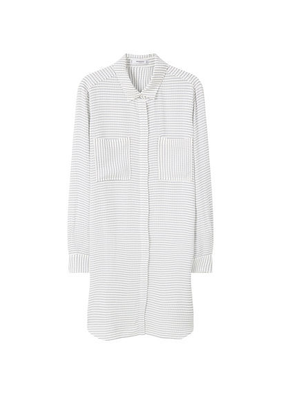 Flowy Long Blouse - neckline: shirt collar/peter pan/zip with opening; pattern: horizontal stripes; bust detail: pocket detail at bust; style: blouse; predominant colour: white; secondary colour: light grey; occasions: casual, creative work; fibres: viscose/rayon - 100%; fit: straight cut; length: mid thigh; sleeve length: long sleeve; sleeve style: standard; pattern type: fabric; pattern size: standard; texture group: other - light to midweight; season: s/s 2016; wardrobe: basic