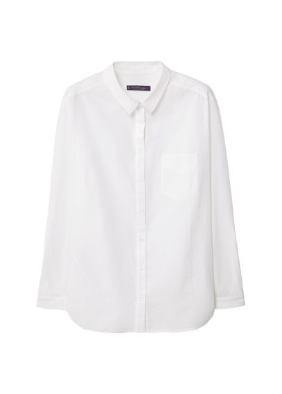 Chest Pocket Cotton Shirt - neckline: shirt collar/peter pan/zip with opening; pattern: plain; style: shirt; predominant colour: white; occasions: casual, work, creative work; length: standard; fibres: cotton - 100%; fit: body skimming; sleeve length: long sleeve; sleeve style: standard; texture group: cotton feel fabrics; pattern type: fabric; season: s/s 2016; wardrobe: basic