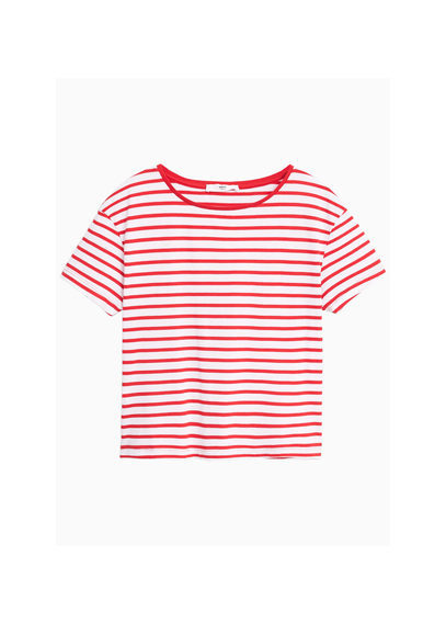 Striped Cotton T Shirt - pattern: plain; style: t-shirt; secondary colour: white; predominant colour: true red; occasions: casual; length: standard; fibres: cotton - 100%; fit: body skimming; neckline: crew; sleeve length: short sleeve; sleeve style: standard; pattern type: fabric; texture group: jersey - stretchy/drapey; multicoloured: multicoloured; season: s/s 2016