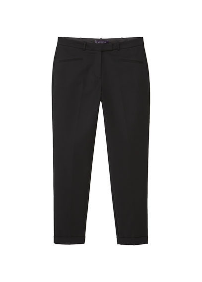 Cotton Suit Trousers - length: standard; pattern: plain; waist: mid/regular rise; predominant colour: black; occasions: work; fibres: cotton - 100%; waist detail: feature waist detail; texture group: cotton feel fabrics; fit: slim leg; pattern type: fabric; style: standard; season: s/s 2016; wardrobe: basic