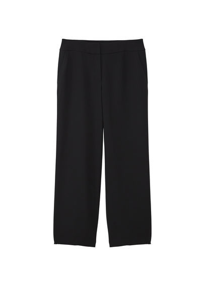 Pocket Palazzo Trousers - length: standard; pattern: plain; style: palazzo; waist: mid/regular rise; predominant colour: black; occasions: evening, creative work; fibres: polyester/polyamide - 100%; texture group: crepes; fit: wide leg; pattern type: fabric; season: s/s 2016; wardrobe: basic