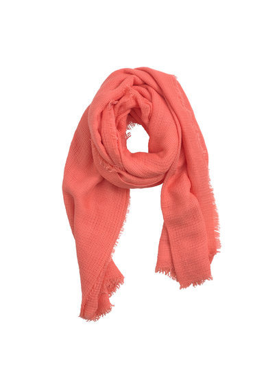 Textured Scarf - predominant colour: coral; occasions: casual, creative work; type of pattern: standard; style: regular; size: standard; material: fabric; pattern: plain; season: s/s 2016; wardrobe: highlight