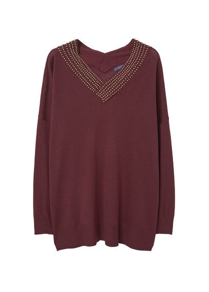 Beaded Wool Blend Sweater - neckline: v-neck; pattern: plain; style: standard; predominant colour: burgundy; secondary colour: gold; occasions: casual; length: standard; fibres: wool - mix; fit: slim fit; sleeve length: long sleeve; sleeve style: standard; texture group: knits/crochet; pattern type: knitted - fine stitch; embellishment: beading; season: s/s 2016; wardrobe: highlight; embellishment location: neck