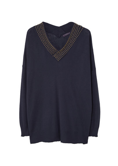 Beaded Wool Blend Sweater - neckline: v-neck; pattern: plain; style: standard; predominant colour: navy; secondary colour: gold; occasions: casual; length: standard; fibres: wool - mix; fit: loose; sleeve length: long sleeve; sleeve style: standard; texture group: knits/crochet; pattern type: knitted - fine stitch; embellishment: beading; season: s/s 2016; wardrobe: highlight; embellishment location: neck