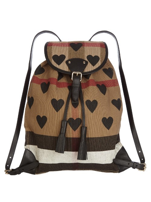 Heart Print Canvas Checked Backpack - secondary colour: chocolate brown; predominant colour: camel; occasions: casual, creative work; type of pattern: heavy; style: rucksack; length: rucksack; size: standard; material: fabric; finish: plain; pattern: patterned/print; multicoloured: multicoloured; season: s/s 2016; wardrobe: highlight