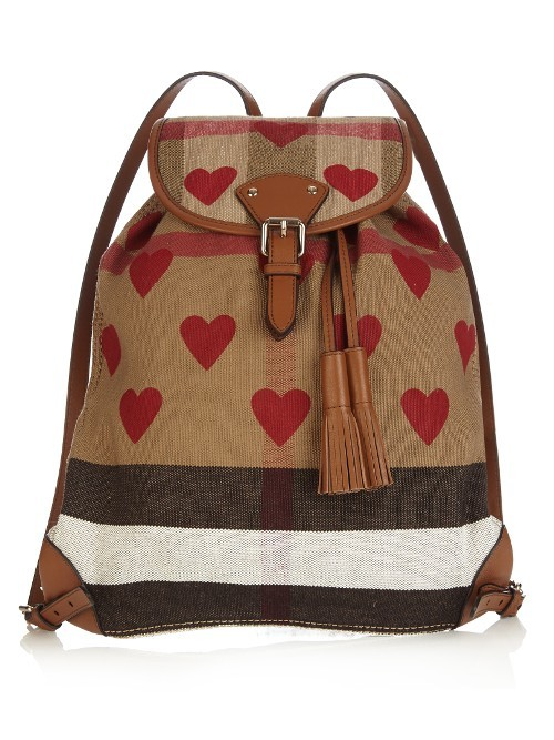 Heart Print Canvas Checked Backpack - secondary colour: true red; predominant colour: camel; occasions: casual; type of pattern: heavy; style: rucksack; length: rucksack; size: standard; material: fabric; embellishment: tassels; finish: plain; pattern: patterned/print; multicoloured: multicoloured; season: s/s 2016; wardrobe: highlight