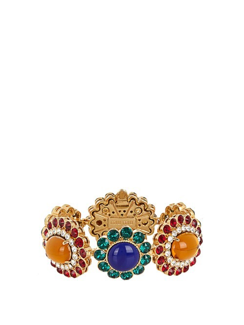 Flower Crystal Embellished Bracelet - predominant colour: gold; occasions: evening, occasion; style: bangle/standard; size: large/oversized; material: chain/metal; finish: plain; embellishment: jewels/stone; multicoloured: multicoloured; season: s/s 2016; wardrobe: event