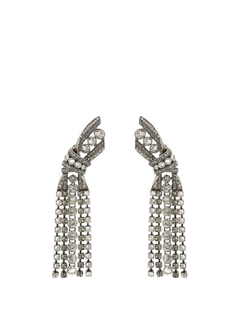 Bow Crystal Embellished Earrings - predominant colour: silver; occasions: evening, occasion; style: drop; length: long; size: large/oversized; material: chain/metal; fastening: pierced; finish: plain; embellishment: crystals/glass; season: s/s 2016; wardrobe: event