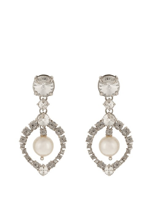 Teardrop Crystal Embellished Earrings - predominant colour: silver; occasions: evening, occasion; style: drop; length: mid; size: standard; material: chain/metal; fastening: pierced; finish: plain; embellishment: crystals/glass; season: s/s 2016; wardrobe: event