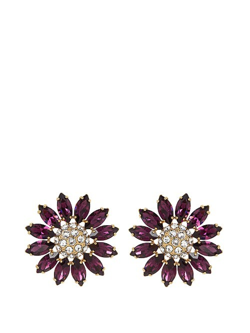 Flower Crystal Embellished Earrings - predominant colour: purple; occasions: evening, occasion; style: stud; length: short; size: standard; material: chain/metal; fastening: pierced; finish: plain; embellishment: jewels/stone; season: s/s 2016; wardrobe: event