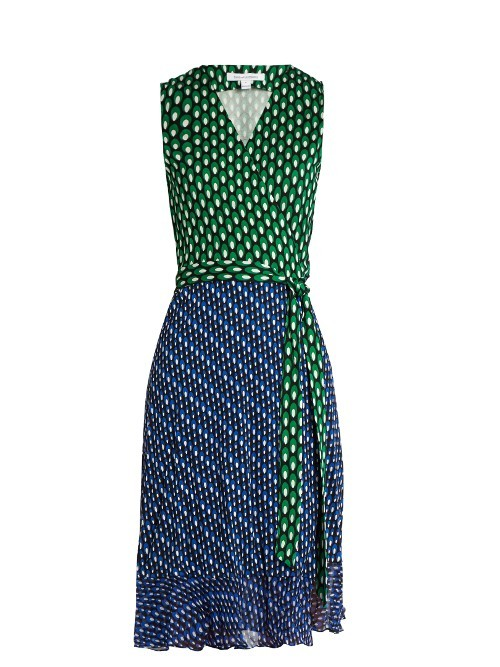 Bethanie Dress - style: faux wrap/wrap; neckline: v-neck; sleeve style: sleeveless; waist detail: belted waist/tie at waist/drawstring; secondary colour: navy; predominant colour: emerald green; occasions: evening; length: on the knee; fit: body skimming; fibres: silk - 100%; sleeve length: sleeveless; pattern type: fabric; pattern: patterned/print; texture group: jersey - stretchy/drapey; multicoloured: multicoloured; season: s/s 2016; wardrobe: event