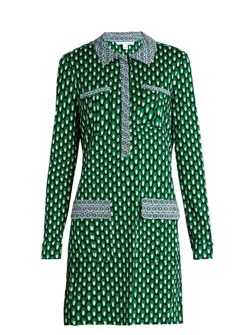 Denny Dress - style: shirt; length: mid thigh; neckline: shirt collar/peter pan/zip with opening; secondary colour: white; predominant colour: emerald green; occasions: evening; fit: body skimming; fibres: silk - 100%; sleeve length: long sleeve; sleeve style: standard; pattern type: fabric; pattern: patterned/print; texture group: other - light to midweight; multicoloured: multicoloured; season: s/s 2016; wardrobe: event