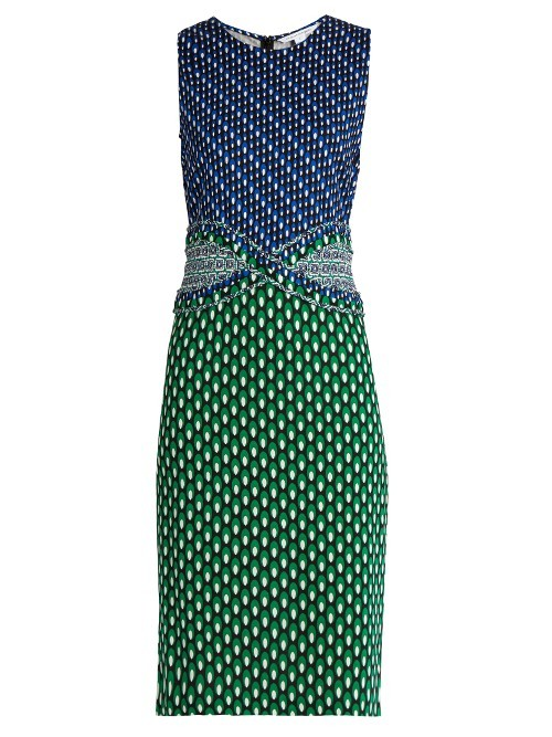 Evita Dress - style: shift; sleeve style: sleeveless; secondary colour: royal blue; predominant colour: emerald green; occasions: evening; length: on the knee; fit: body skimming; fibres: silk - 100%; neckline: crew; sleeve length: sleeveless; pattern type: fabric; pattern: patterned/print; texture group: other - light to midweight; multicoloured: multicoloured; season: s/s 2016; wardrobe: event