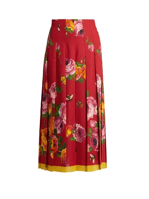 Rose Print Wool And Silk Blend Pleated Skirt - length: calf length; fit: loose/voluminous; style: pleated; waist: high rise; predominant colour: true red; secondary colour: mustard; occasions: evening, occasion, creative work; fibres: silk - 100%; texture group: silky - light; pattern type: fabric; pattern: florals; pattern size: standard (bottom); multicoloured: multicoloured; season: s/s 2016; wardrobe: highlight