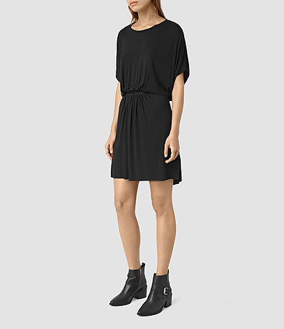 Aria Dress - style: t-shirt; length: mid thigh; neckline: round neck; sleeve style: dolman/batwing; pattern: plain; waist detail: elasticated waist; predominant colour: black; occasions: casual, creative work; fit: body skimming; fibres: viscose/rayon - stretch; sleeve length: half sleeve; pattern type: fabric; texture group: jersey - stretchy/drapey; season: s/s 2016; wardrobe: basic
