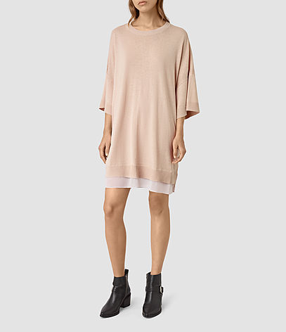 Relm Knit Dress - style: jumper dress; length: mid thigh; neckline: round neck; sleeve style: dolman/batwing; fit: loose; pattern: plain; predominant colour: blush; occasions: casual, creative work; fibres: wool - mix; sleeve length: 3/4 length; texture group: knits/crochet; pattern type: knitted - fine stitch; season: s/s 2016; wardrobe: basic