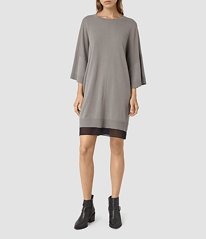 Relm Knit Dress - style: jumper dress; length: mid thigh; neckline: round neck; sleeve style: dolman/batwing; fit: loose; predominant colour: mid grey; secondary colour: black; occasions: casual, creative work; fibres: wool - mix; sleeve length: 3/4 length; texture group: knits/crochet; pattern type: knitted - fine stitch; pattern size: standard; pattern: colourblock; season: s/s 2016