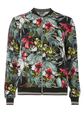 Womens Black And Pink Floral Bomber Jacket Fl Multi - collar: round collar/collarless; style: bomber; secondary colour: pistachio; predominant colour: black; occasions: casual, creative work; length: standard; fit: straight cut (boxy); fibres: polyester/polyamide - 100%; sleeve length: long sleeve; sleeve style: standard; collar break: high; pattern type: fabric; pattern: florals; texture group: woven light midweight; pattern size: big & busy (top); multicoloured: multicoloured; season: s/s 2016; wardrobe: highlight